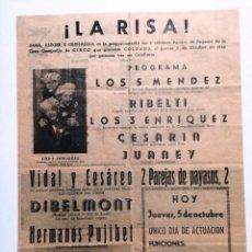 Carteles Espectáculos: CARTEL DE 1944 CIRCO.LOS 5 MENDEZ,RIBELTI,LOS TRES ENRIQUEZ,CESARIA,JUANEY,VIDAL Y CESAREO.CALAHORRA. Lote 103061963