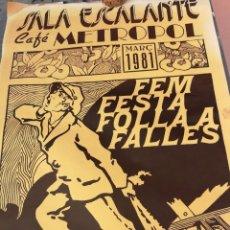 Carteles Espectáculos: SALA ESCALANTE (VALENCIA 1981) CAFÉ METROPOL. Lote 106107799
