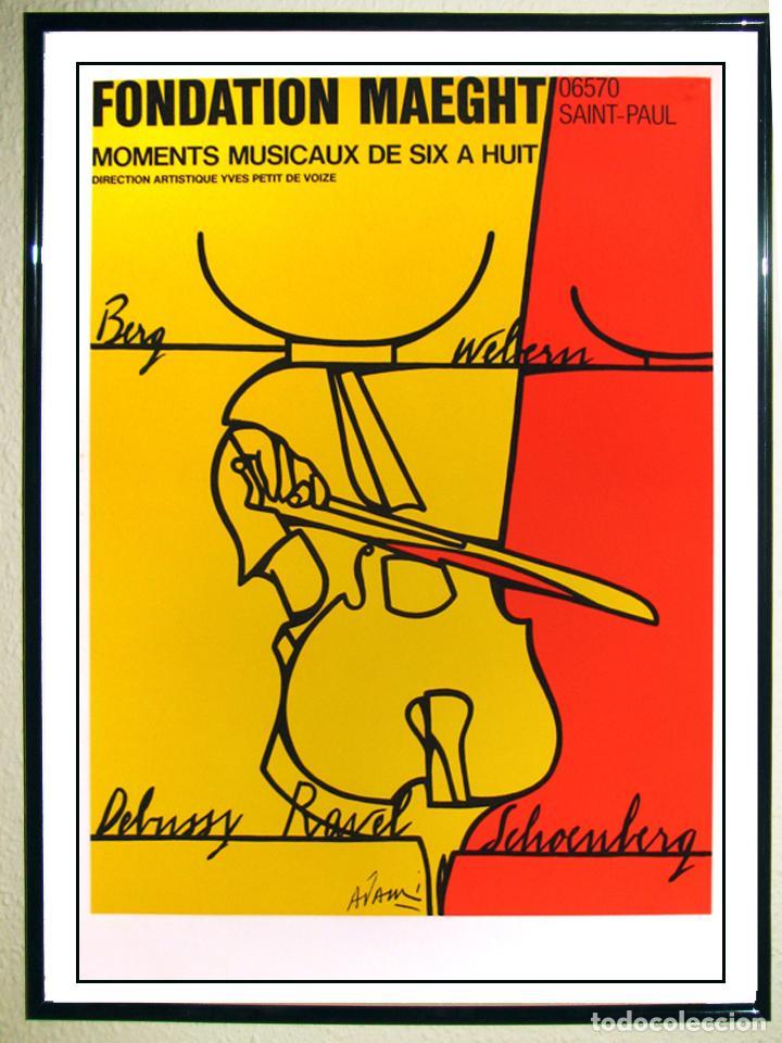 CARTEL DE VALERIO ADAMI,LITOGRAFÍA ORIGINAL-MOMENTOS MUSICALES DE SEIS A OCHO-FUNDACIÓN MAEGHT 1976 (Coleccionismo - Carteles Gran Formato - Carteles Circo, Magia y Espectáculos)