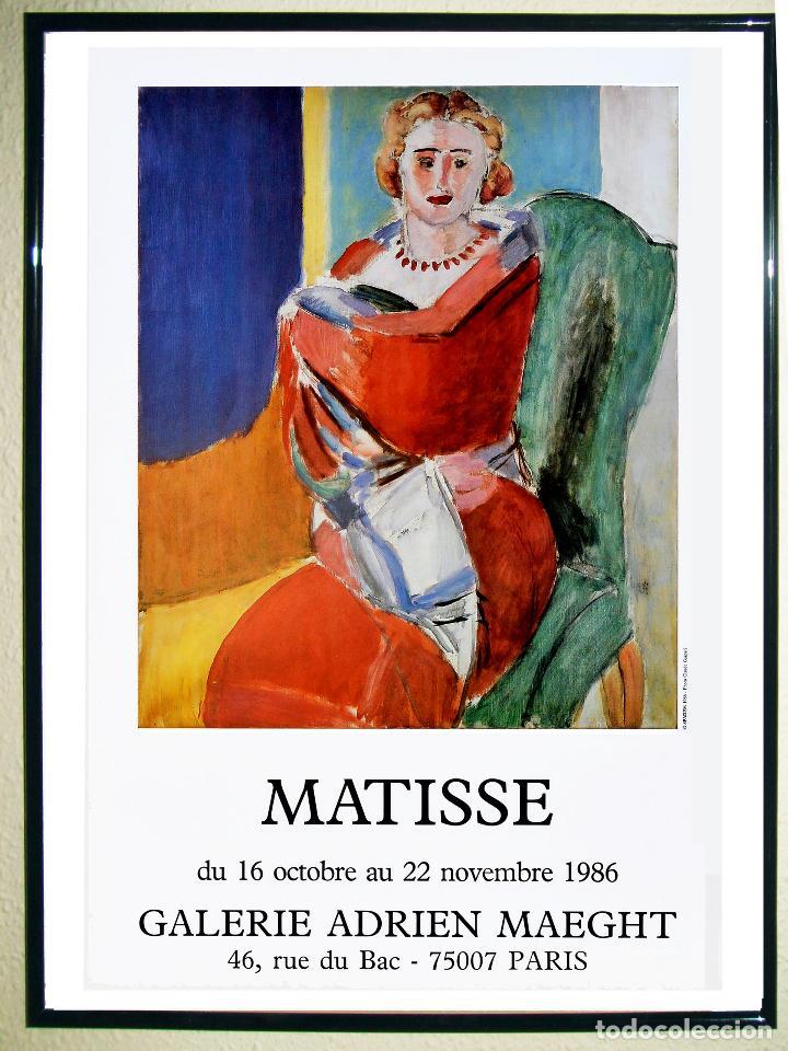 CARTEL EXPOSICION - HENRÍ MATISSE -MUJER SENTADA - EN LA GALERÍA ADRIEN MAEGHT-EN 1986 TAMAÑO 60X40 (Coleccionismo - Carteles Gran Formato - Carteles Circo, Magia y Espectáculos)