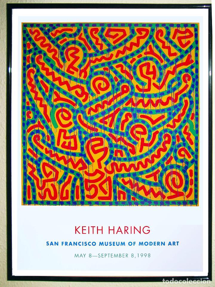 CARTEL DE LA EXPOSICIÓN - KEITH HARING - ARTE POP DEL AÑO 1998. SAN FRANCISCO TAMAÑO 93 X 67,5CMS (Coleccionismo - Carteles Gran Formato - Carteles Circo, Magia y Espectáculos)