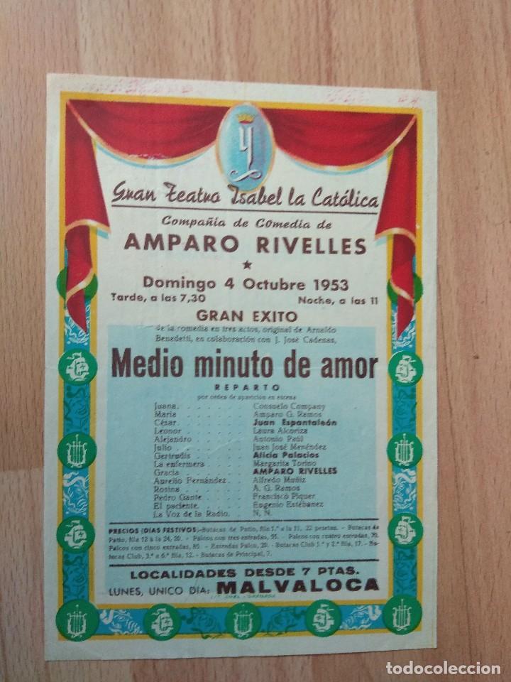 PROGRAMA SIMPLE DE TEATRO ISABEL LA CATOLICA 1953--AMPARO RIVELLES MEDIO MINUTO DE AMOR (Coleccionismo - Carteles Gran Formato - Carteles Circo, Magia y Espectáculos)