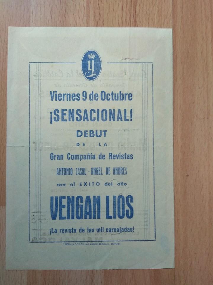 Carteles Espectáculos: PROGRAMA SIMPLE DE TEATRO ISABEL LA CATOLICA 1953--AMPARO RIVELLES MEDIO MINUTO DE AMOR - Foto 2 - 109571351