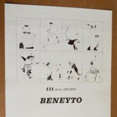 Carteles Espectáculos: BENEYTO - CARTEL ORIGINAL EXPOSICION 1980 - GALERIA JOAQUIM MIR - PALMA DE MALLORCA - 33 X 50 CM. Lote 110206243