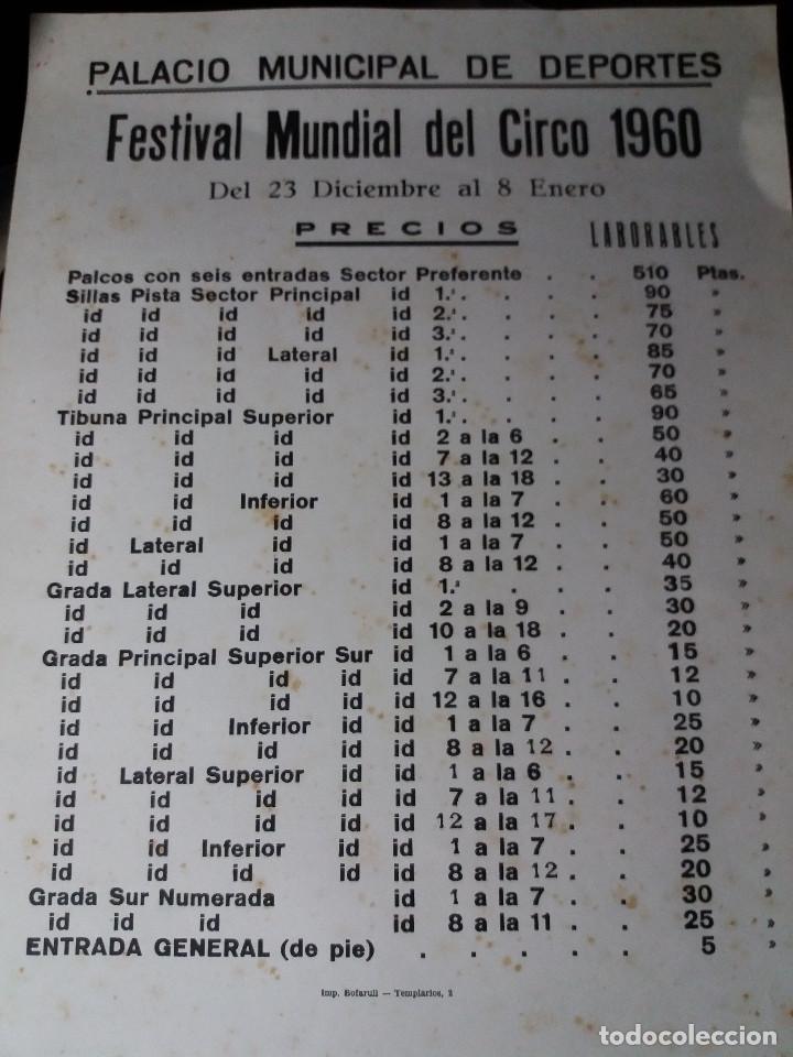 CARTEL AÑO 1960 * FESTIVAL MUNDIAL DEL CIRCO * PALACIO MUNICIPAL DEPORTES - (42 X 32 ) (Coleccionismo - Carteles Gran Formato - Carteles Circo, Magia y Espectáculos)