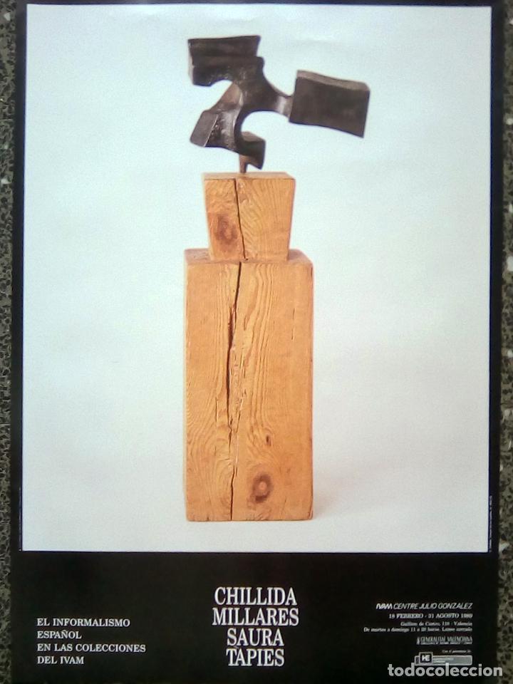 CARTEL DE EXPOSICION-CHILLIDA, MILLARES, SAURA Y TAPIES-EN IVAM.VALENCIA 1989 50X70 CMS (Coleccionismo - Carteles Gran Formato - Carteles Circo, Magia y Espectáculos)