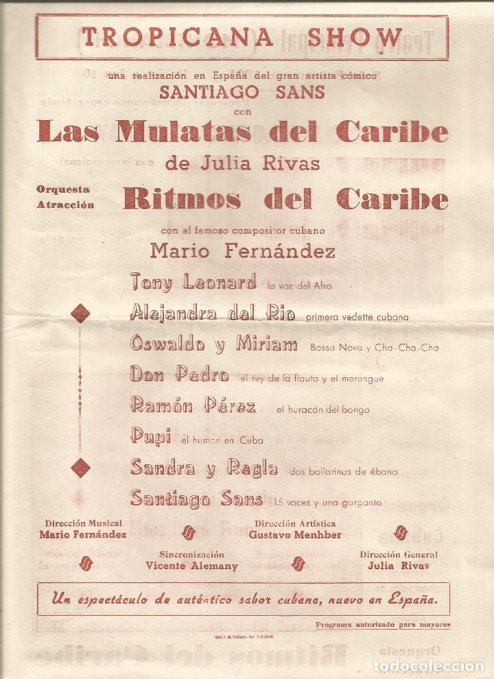 Carteles Espectáculos: TEATRO PRINCIPAL MONTBLANCH 1964 CARTELITO LOCAL ESPECTACULO JULIA RIVAS ORQUESTA CUBANA 31 X 22 CM - Foto 2 - 134943135