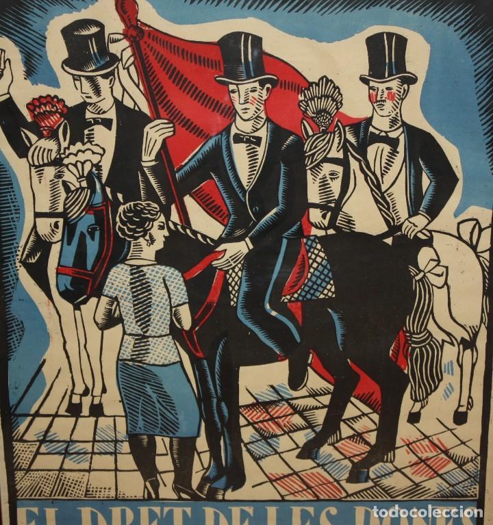 Carteles Espectáculos: CARTEL DE GRAN FORMATO GRAN TEATRO ESPAÑOL (EL DRET DE LES DONES O SANTONI GLORIOS. CIRCA 1910 - Foto 3 - 115699699