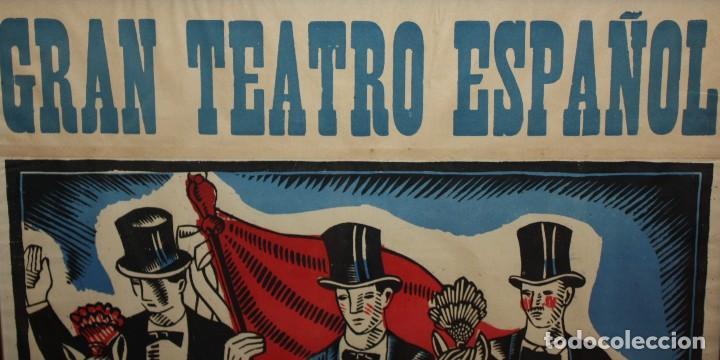 Carteles Espectáculos: CARTEL DE GRAN FORMATO GRAN TEATRO ESPAÑOL (EL DRET DE LES DONES O SANTONI GLORIOS. CIRCA 1910 - Foto 4 - 115699699