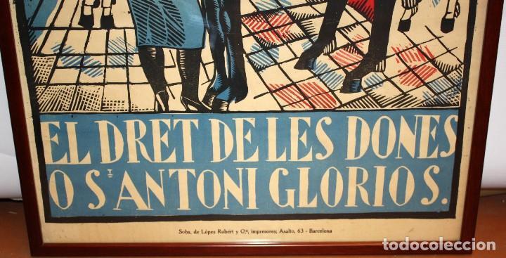 Carteles Espectáculos: CARTEL DE GRAN FORMATO GRAN TEATRO ESPAÑOL (EL DRET DE LES DONES O SANTONI GLORIOS. CIRCA 1910 - Foto 5 - 115699699