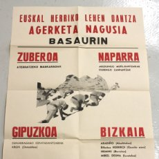 Carteles Espectáculos: CARTEL EUSKAL HERRIKO LEHEN DANTZA AGERKETA NAGUSIA BASAURIN. AÑO 1972. BIZKAIA. Lote 115772819