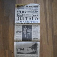 Carteles Espectáculos: CARTEL TEATRO EL RECREO-TERRASSA- JULIO 1924- BUFFALO MACISTE -VER FOTOS - (V-14.001). Lote 116382247
