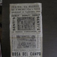 Carteles Espectáculos: CARTEL TEATRO EL RECREO-TERRASSA-SEPTIEMBRE 1926-SENTI´S -PERROS COMEDIANTES -VER FOTOS - (V-14.002). Lote 116382407