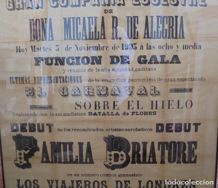 Carteles Espectáculos: CADIZ. TEATRO PRINCIPAL. CIRCO. GRAN COMPAÑIA ECUESTRE. MICAELA R. DE ALEGRIA. 1903. VER. 131 X 64CM - Foto 5 - 118883071