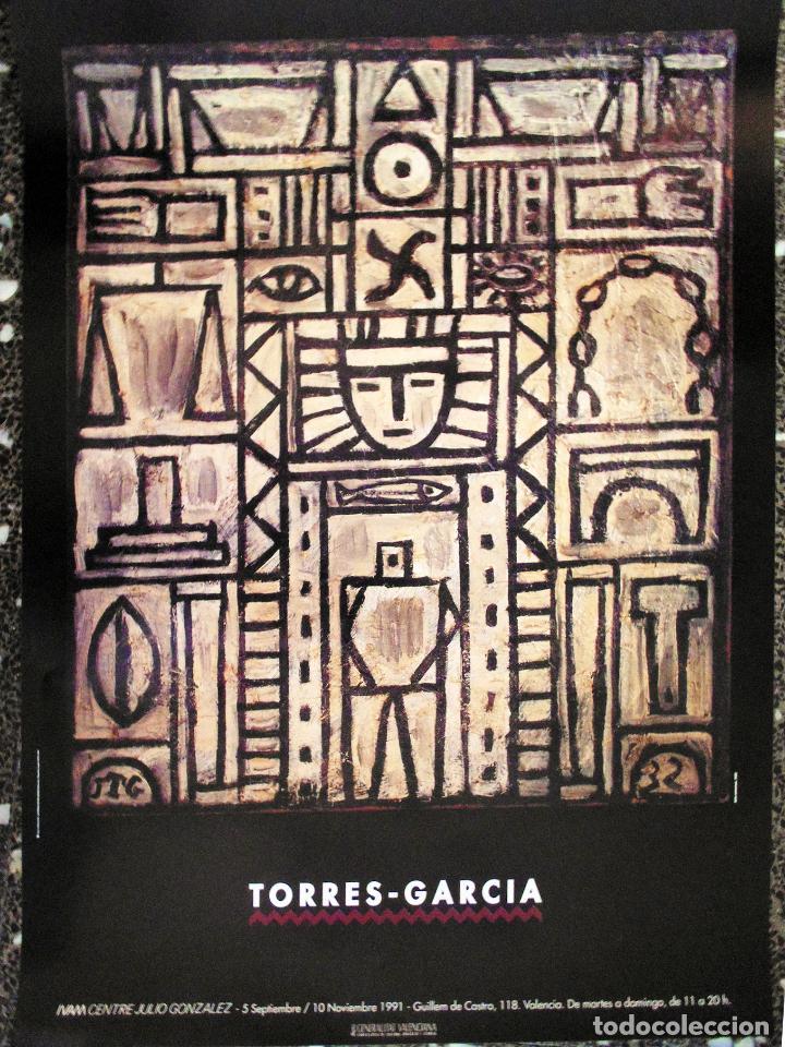 CARTEL EXPOSICION DE - TORRES GARCIA - EN IVAM.VALENCIA 1991.TAMAÑO 70X50 CMS (Coleccionismo - Carteles Gran Formato - Carteles Circo, Magia y Espectáculos)