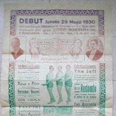 Carteles Espectáculos: CARTEL CIRCO MARAVILLAS, MANRESA 1930, HERMANOS RIQUELME, LOS AROCA, FALCINI, C25. Lote 120926271