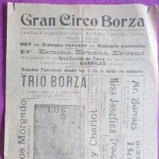 Carteles Espectáculos: CARTEL CIRCO, GRAN CIRCO BORZA, TRIO BORZA, HERMANOS MORGADO, ALMODOVAR, C42. Lote 121140263