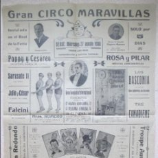 Carteles Espectáculos: CARTEL CIRCO, GRAN CIRCO MARAVILLAS, 1930 VALENCIA, HERMANOS RIQUELME, LOS HARRYS, C53. Lote 121617235