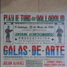 Carteles Espectáculos: ANTIGUO CARTEL.PLAZA TOROS VALLADOLID.ESPECTACULO COMICO.TAURINO.MUSICAL.LOS MARINOS.LOS KRANES.1948. Lote 125241431