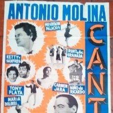 Carteles Espectáculos: ANTONIO MOLINA ESPECTACULO CANTE 1966 PEPE BLANCO CARTEL ORIGINAL 124 X 88 CM ED ARTE MADRID. Lote 125180683