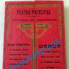 Carteles Espectáculos: CADIZ, 1911, TRIPTICO INAUGURACION TEMPORADA TEATRO PRINCIPAL, MAGNIFICO, ABIERTO 235X215MM. Lote 128906939