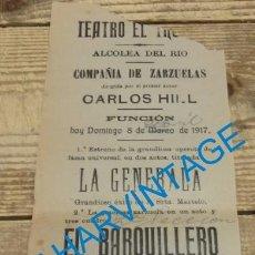 Carteles Espectáculos: ALCOLEA DEL RIO, SEVILLA, 1917, TEATRO EL TRUENO, CARTEL COMPAÑIA DE ZARZUELAS, 105X265MM. Lote 129597767