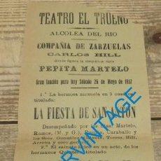 Carteles Espectáculos: ALCOLEA DEL RIO, SEVILLA, 1917, TEATRO EL TRUENO, CARTEL COMPAÑIA DE ZARZUELAS, 105X265MM. Lote 129597931