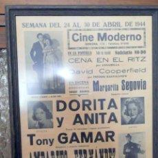 Carteles Espectáculos: CARTEL PUBLICITARIO CINE MODERNO BARCELONA. Lote 130524286