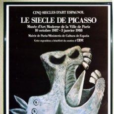 Carteles Espectáculos: CARTEL EXPOSICION - PICASSO PABLO -EL SIGLO DE PICASSO EN EL MUSEO D´ART MODERNE PARÍS EN 1.988 60X4. Lote 193772491