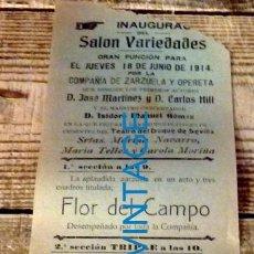 Carteles Espectáculos: SANLUCAR DE BARRAMEDA, 1914, CARTEL INAUGURACION SALON VARIEDADES, TEATRO, 105X310MM. Lote 133039474