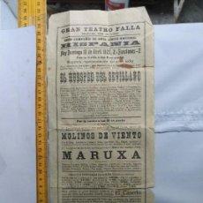 Carteles Espectáculos: CARTEL CADIZ GRAN TEATRO FALLA 1927 COMPAÑIA HISPANIA EL HUESPED SEVILLANO MOLINOS DE VIENTO MARUXA. Lote 134233922