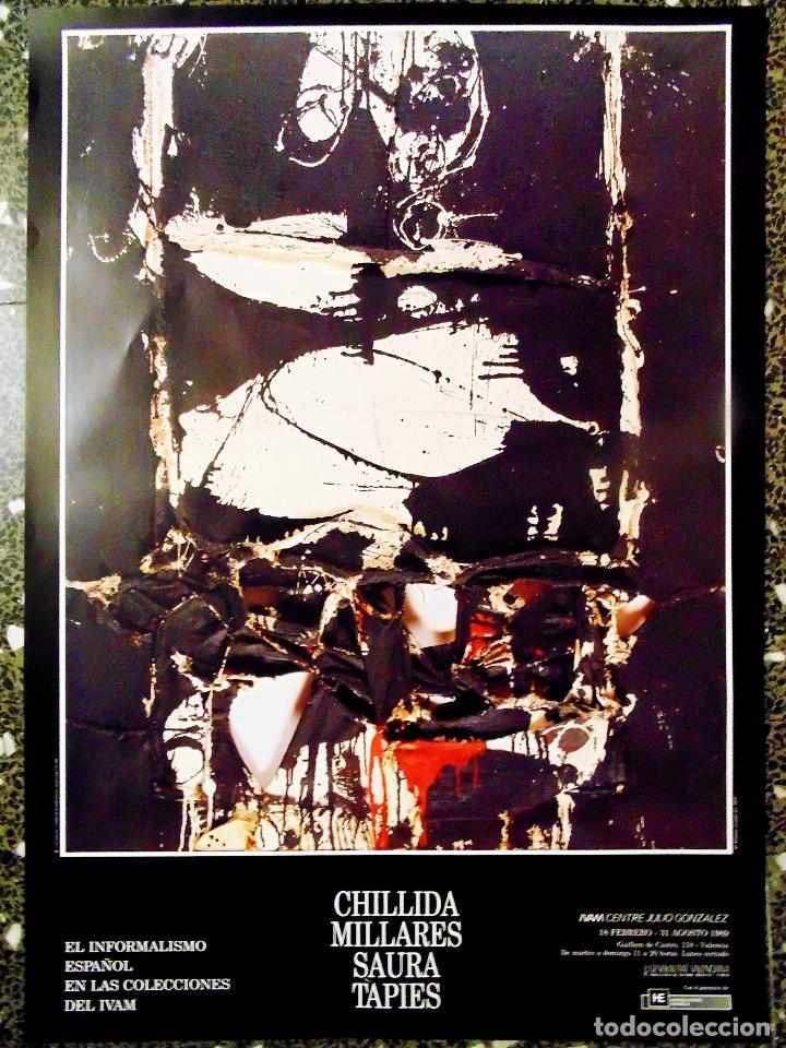 CARTEL DE EXPOSICION DE - CHILLIDA .MILLARES.SAURA.Y TAPIES-EL IMPRESIONISMOS ESPAÑOL-EN IVAM 1989 (Coleccionismo - Carteles Gran Formato - Carteles Circo, Magia y Espectáculos)