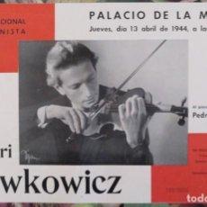 Carteles Espectáculos: CARTEL VIOLINISTA HENRI LEWKOWICZ PALACIO DE LA MUSICA BARCELONA 1944. Lote 137282418