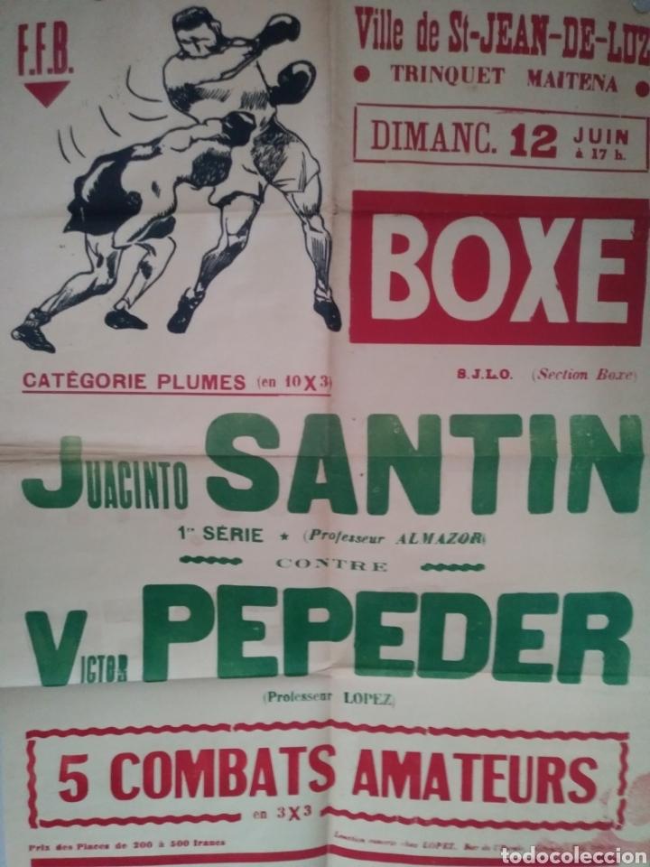 CARTEL BOXEO. JACINTO SANTIN-VICTOR PEPEDER. SAN JUAN DE LUZ. AÑOS 50 (Coleccionismo - Carteles Gran Formato - Carteles Circo, Magia y Espectáculos)