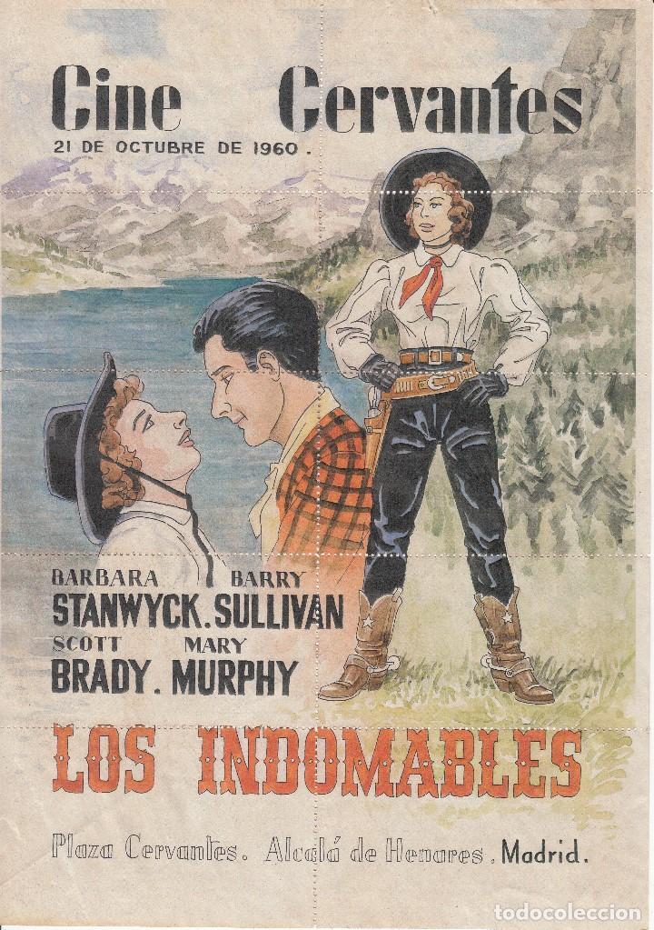 CINE CERVANTES: ALCALA DE HENARES 1960 / LOS INDOMABLES / REVERSO DIEZ ENTRADA (Coleccionismo - Carteles Gran Formato - Carteles Circo, Magia y Espectáculos)
