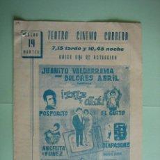 Carteles Espectáculos: ANTIGUO PROGRAMA DE ESPECTÁCULOS. FLAMENCO. VALDERRAMA,........ Lote 138313742
