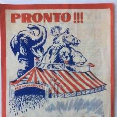 Carteles Espectáculos: GRAN CIRCO MONUMENTAL. PROGRAMA.. Lote 209761981
