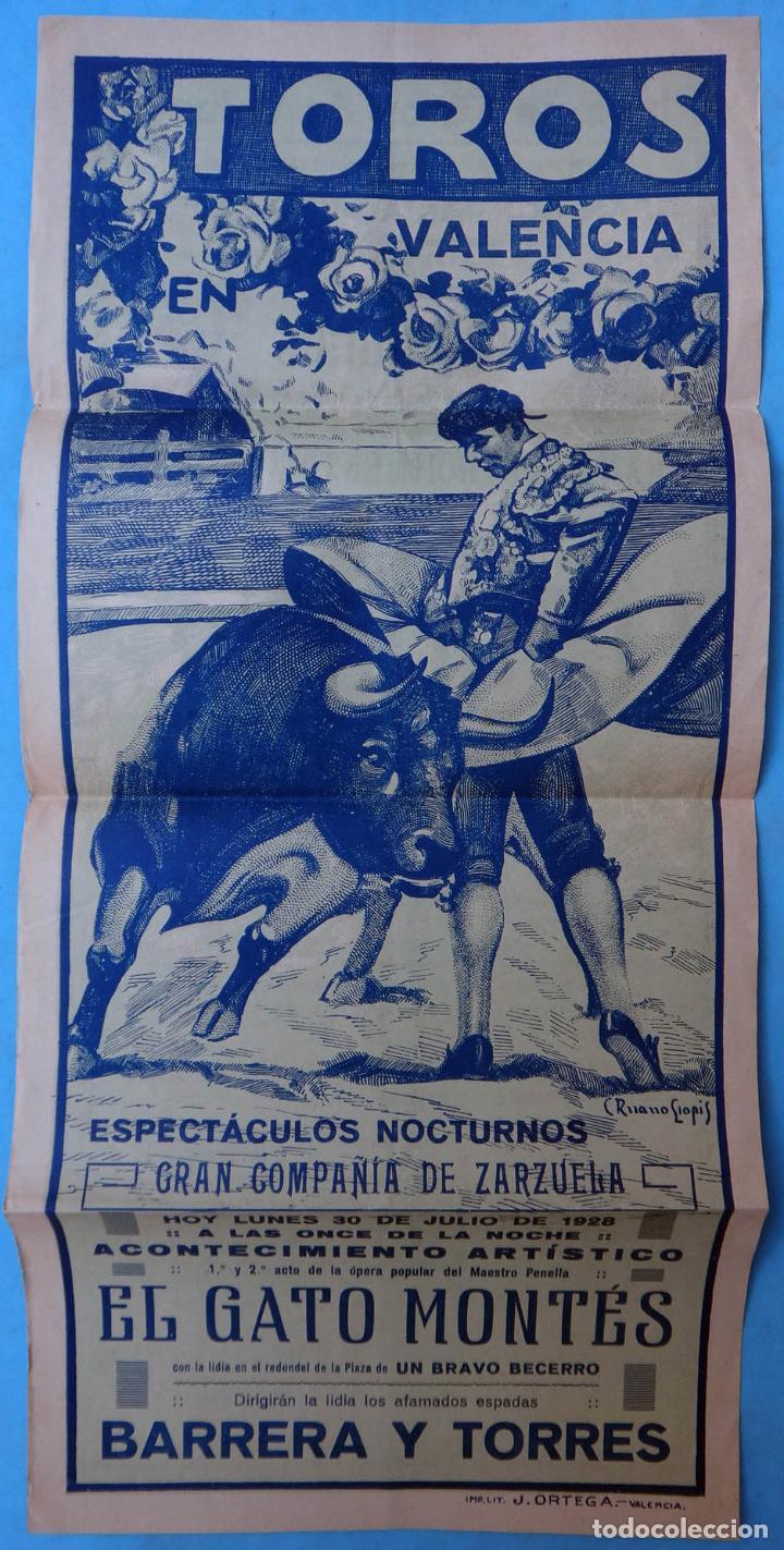 CARTEL PLAZA TOROS VALENCIA 1928, ESPECTACULO ZARZUELA , EL GATO MONTES ,NOCTURNO , ORIGINAL , CA (Coleccionismo - Carteles Gran Formato - Carteles Circo, Magia y Espectáculos)