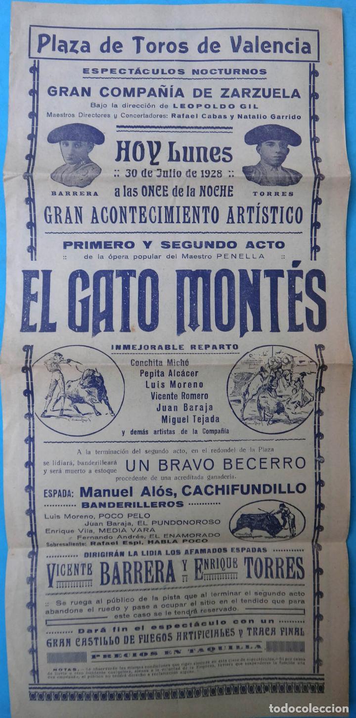 Carteles Espectáculos: CARTEL PLAZA TOROS VALENCIA 1928, ESPECTACULO ZARZUELA , EL GATO MONTES ,NOCTURNO , ORIGINAL , CA - Foto 2 - 139328538