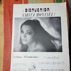 Carteles Espectáculos: SARITA MONTIEL CARTEL 28 X 43 CTMS.DE CONCIERTO EN MIAMI. Lote 141595594