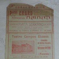 Carteles Espectáculos: PEQUEÑO CARTEL TIPO PROGRAMA DEL TEATRO CAMPOS ELISEOS, BILBAO, 17 DE ABRIL DE 1909, OPERA LOHENGRIN. Lote 146477282