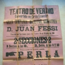 Carteles Espectáculos: CÁDIZ.TEATRO DE VERANO CONVERTIDO EN CIRCO ECUESTRE.10 DE OCT.DE 1910.CARTEL 81 X 63 CTMS.. Lote 146549638
