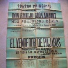 Carteles Espectáculos: CÁDIZ.TEATRO PRINCIPAL.22 DE AGOSTO DE 1903.Cª. ITALIANA DE ÓPERA Y OPERETA.CARTEL 125 X 87 CTMS.. Lote 146550706