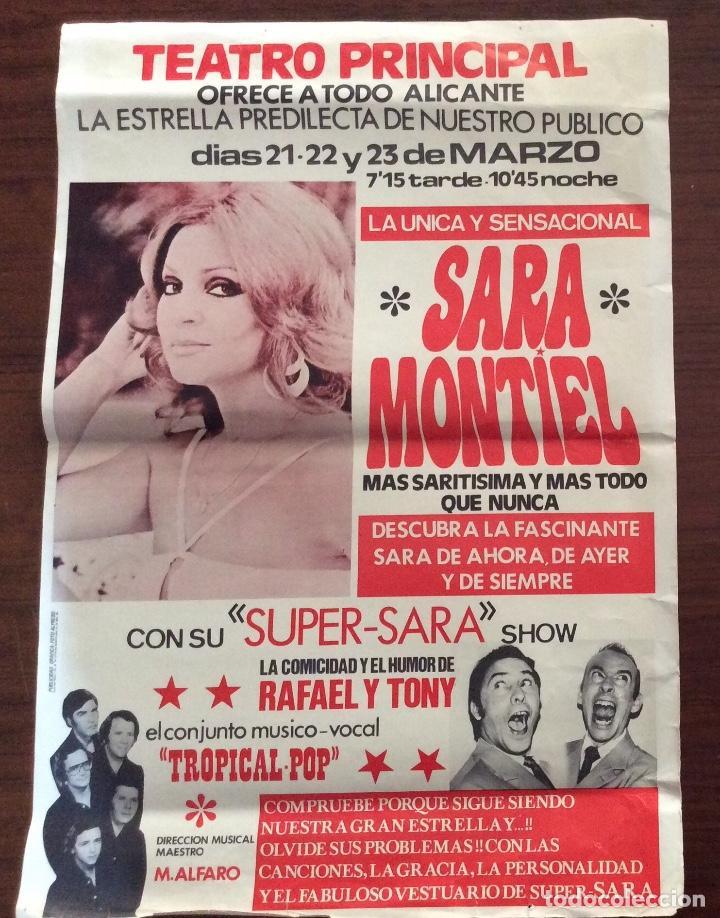 CARTEL SARA MONTIEL. SUPER-SARA SHOW. 1980. TEATRO PRINCIPAL. ALICANTE. 35 X 50 CMS. (Coleccionismo - Carteles Gran Formato - Carteles Circo, Magia y Espectáculos)