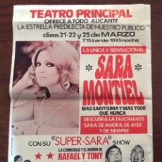 Carteles Espectáculos: CARTEL SARA MONTIEL. SUPER-SARA SHOW. 1980. TEATRO PRINCIPAL. ALICANTE. 35 X 50 CMS.. Lote 147526678