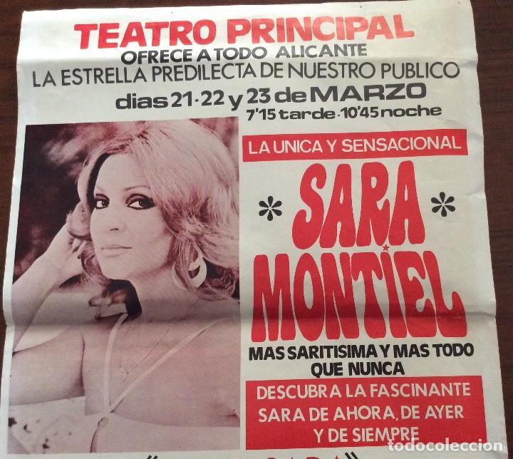 Carteles Espectáculos: CARTEL SARA MONTIEL. SUPER-SARA SHOW. 1980. TEATRO PRINCIPAL. ALICANTE. 35 x 50 CMS. - Foto 3 - 147526678
