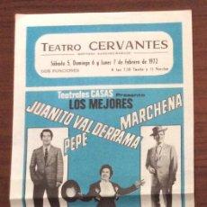 Carteles Espectáculos: CARTEL TEATRO CERVANTES. MÁLAGA. 1972. PEPE MARCHENA,NIÑA DE ANTEQUERA, JUANITO VALDERRAMA, ETC... Lote 147528770