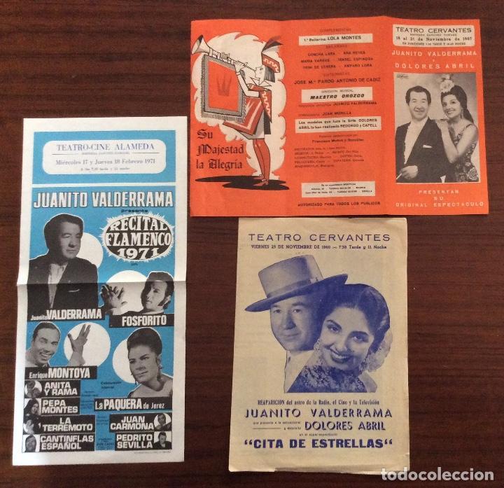GRUPO 3 CARTEL JUANITO VALDERRAMA, DOLORES ABRIL. 1960,1967,1971. TEATRO CERVANTES. MÁLAGA. (Coleccionismo - Carteles Gran Formato - Carteles Circo, Magia y Espectáculos)