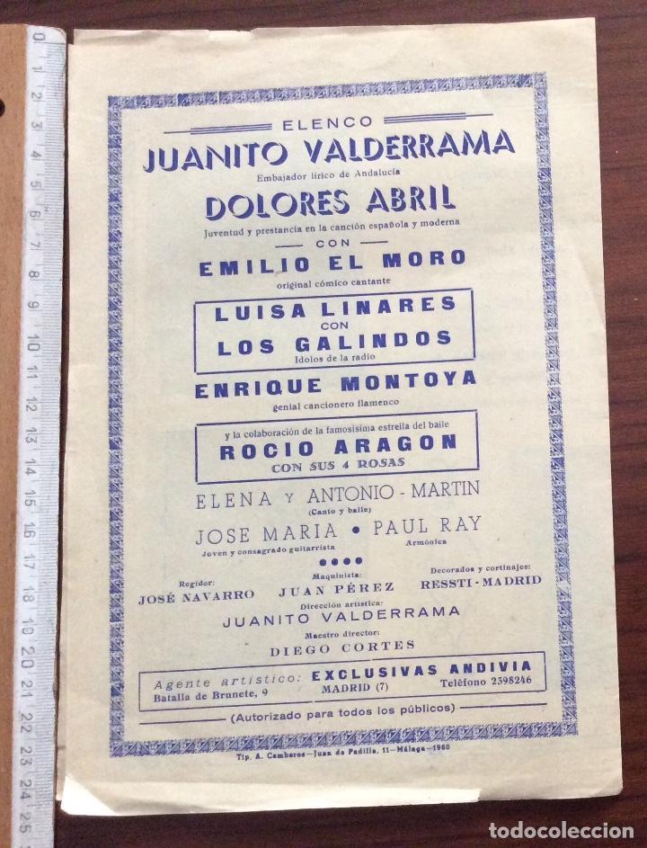 Carteles Espectáculos: GRUPO 3 CARTEL JUANITO VALDERRAMA, DOLORES ABRIL. 1960,1967,1971. TEATRO CERVANTES. MÁLAGA. - Foto 7 - 147530198