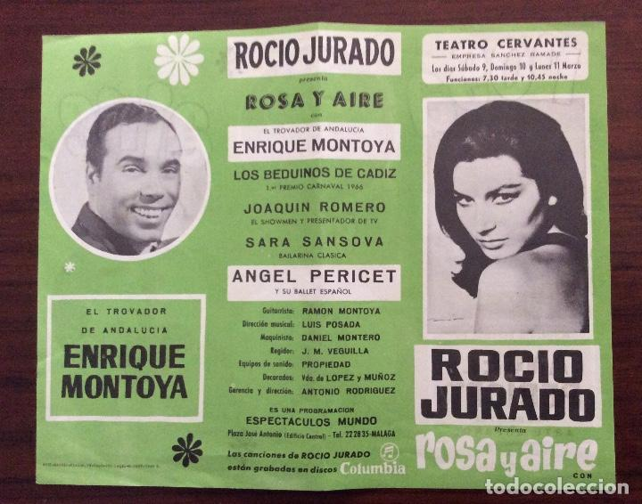 CARTEL TEATRO CERVANTES, MÁLAGA. 1968. ROSA Y AIRE. ROCÍO JURADO. 21 X 26 CMS. (Coleccionismo - Carteles Gran Formato - Carteles Circo, Magia y Espectáculos)